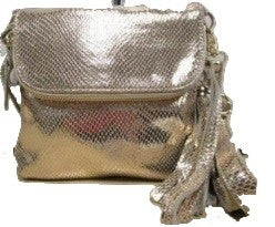 Silver Snakeskin Leather Embossed Pouch Cross Body Handbag
