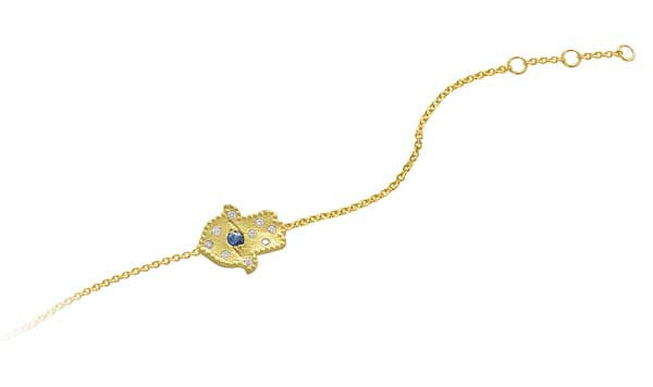 Hamsa Bracelet with Sapphire and Diamonds