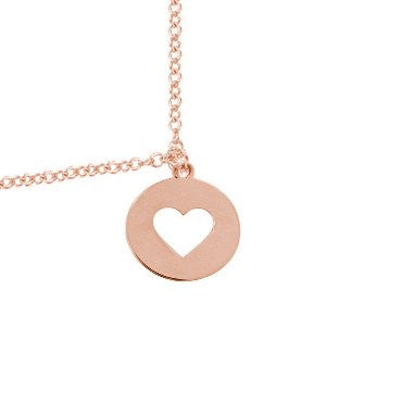 Heart Cut Out Disc Necklace Rose Gold