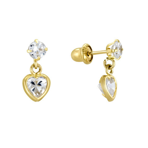 Heart Stud Dangle Earrings in 14kt Yellow Gold