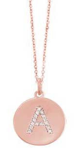 Initial in Rose Gold Disc with Diamonds Necklace