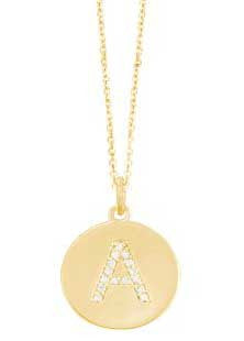 Initial in Yellow Gold Disc with Diamonds Necklace