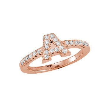 Initial Ring Diamonds Rose Gold