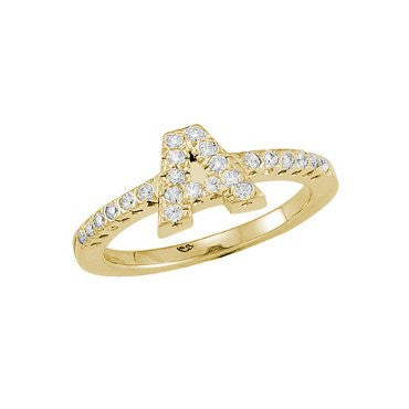 Initial Ring Diamonds Yellow Gold