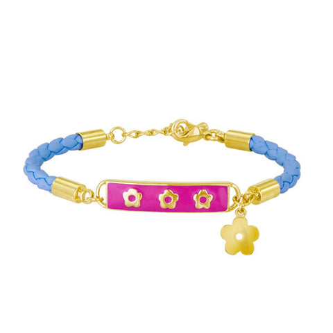 Kids Leather and Vermeil Soft Bangle ID Bracelet in Blue and Hot Pink