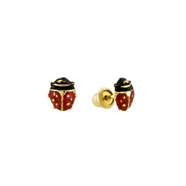 Ladybug Enamel Yellow Gold Stud Earrings