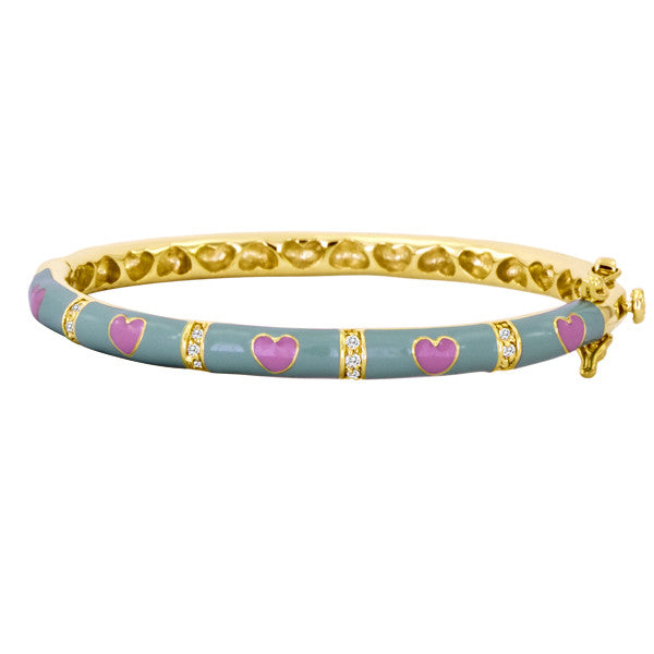 Lauren Klein Blue and Hot Pink Heart Baby/Kids Bangle