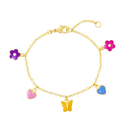 Lauren Klein Charm Bracelet Little Girls in Enamel and Vermeil  Hearts Flowers and Butterflies