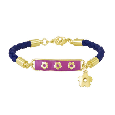 Lauren Klein Hot Pink Enamel Leather Charm ID Bracelet for Kids