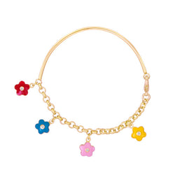 Lauren Klein Soft Bangle with Enamel and CZ Flowers for Little Girls