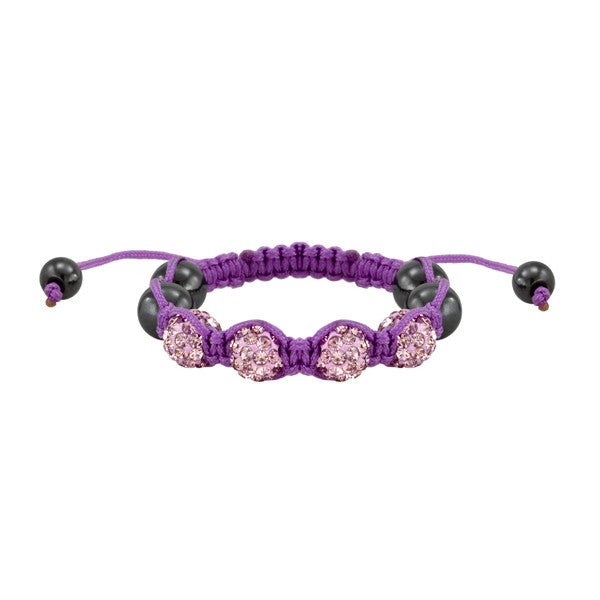Lavender and Pink Crystal Shamballa Style Bead Bracelet