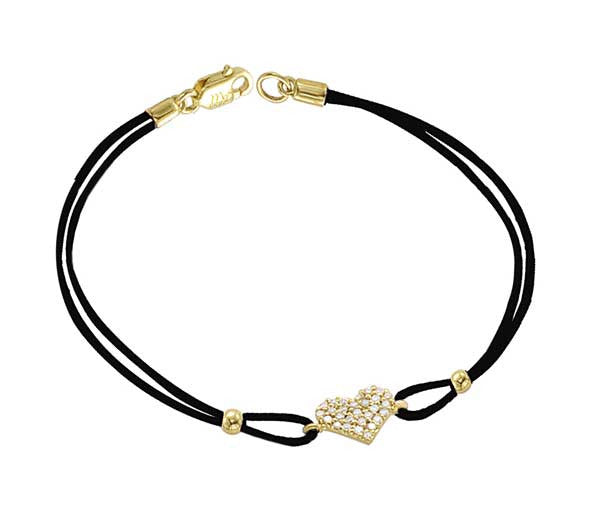 Leather Bracelet With Diamond Heart