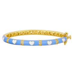 Light Blue and White Heart Kids and Baby Bangles