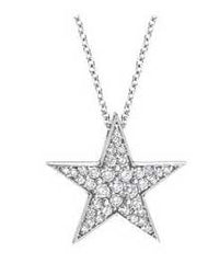 Star Pendant in Diamonds and 14 karat Gold Available in all Gold Colors