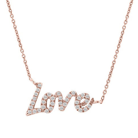 LOVE Necklace in Rose Gold and Diamonds