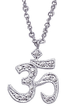 White Gold Yoga Symbol Diamond Necklace OM