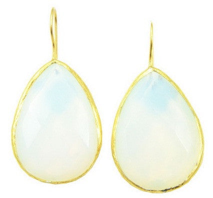 Moonstone Drop Earrings Vermeil Pear Shape