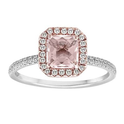 Morganite Rose Gold Princess Cut Ring