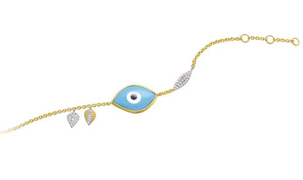 Pave Oval & Leaf Evil Eye Bracelet