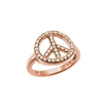 Peace Sign Ring Rose Gold
