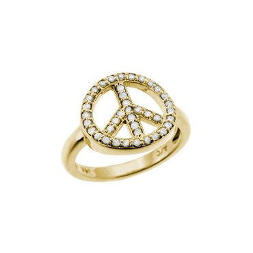 Peace Sign Ring Yellow Gold
