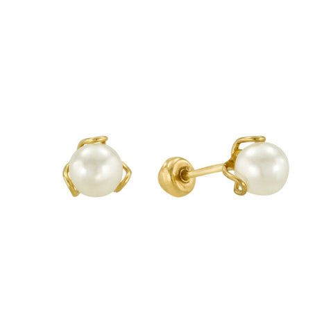 Pearl and Yellow Gold Stud Earrings