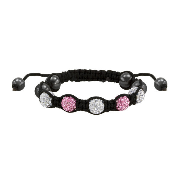 Pink and White Crystal Inspired Shamballa Bracelet