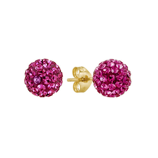 Pink Shamballa Stud Earrings in Crystal and 14kt Yellow Gold