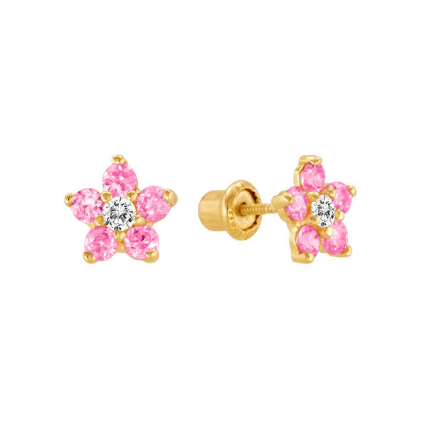 Pink Topaz Flower Studs 14kt Yellow Gold