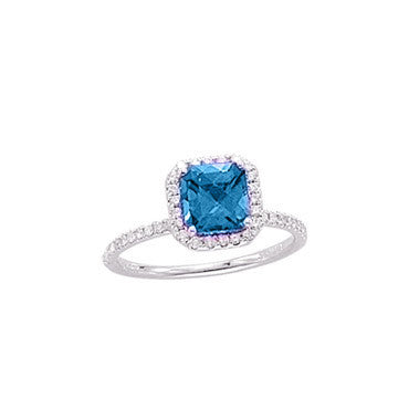1 Carat Princess Cut Blue Topaz and Diamond White Gold Ring
