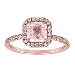Princess Cut Morganite and Rose Gold Diamond Ring