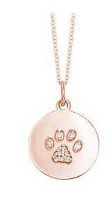Puppy Diamond Paw Print Disc Necklace in Rose Gold