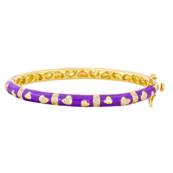 Purple and Gold Heart and Cz Baby and Kids Bangles by Lauren Klein