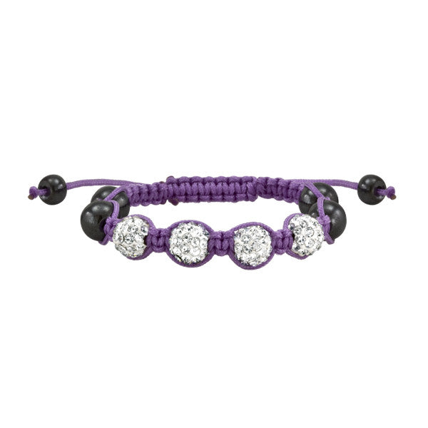 Purple and White Crystal Shamballa Style Bracelet