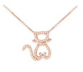 Pussy Cat Rose Gold  Diamond Necklace
