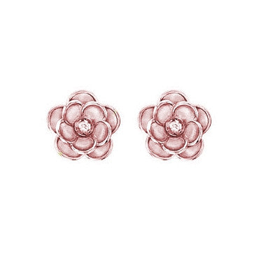 Rose Earrings in Rose Gold