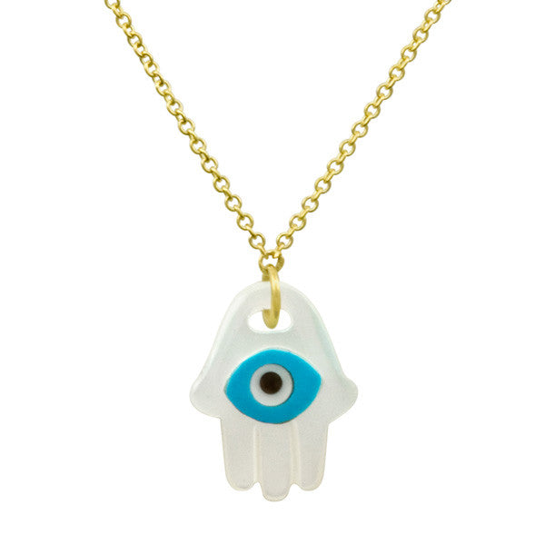 Mother of Pearl, Turquoise, Onyx Evil Eye Hamsa Necklace in Yellow Gold