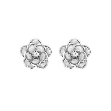Rose Earrings in White Gold