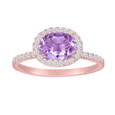 Rose Gold Amethyst in Oval Diamond Cocktail Ring