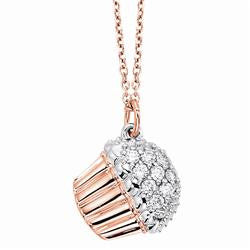 Rose Gold Cupcake Necklace with Diamonds
