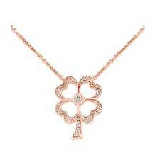 Rose Gold Irish Diamond Flower Necklace