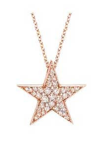 Rose Gold Star Pendant Diamonds