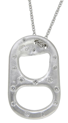 White Gold and Diamond Lined Soda Tab Pendant