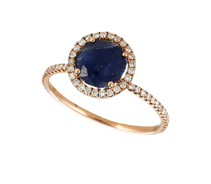 Rough Blue Sapphire Cocktail Ring in Round Diamonds and Rose Gold
