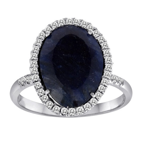 Rough Blue Sapphire in Yellow Gold with Diamonds
