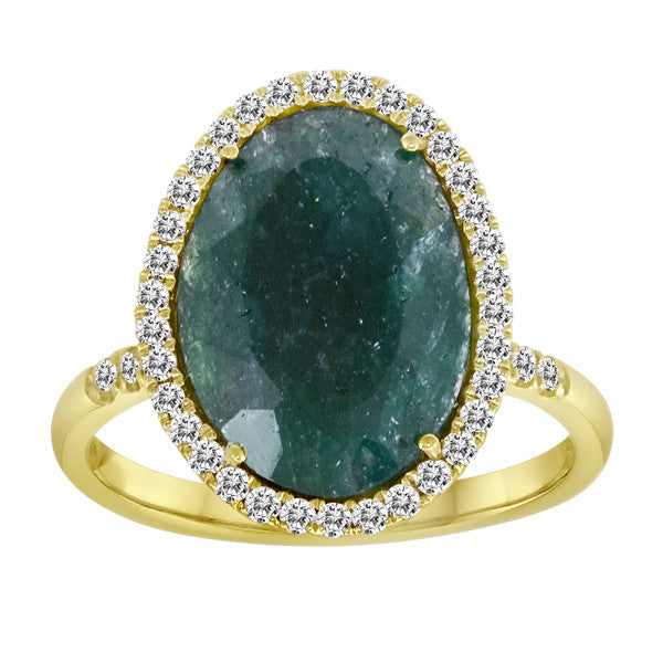 Rough Emerald in Yellow Gold with Diamonds