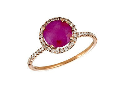 Rough Ruby and Diamond Rose Gold Stack Ring