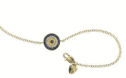 Round Evil Eye Bracelet Yellow Gold and Diamonds