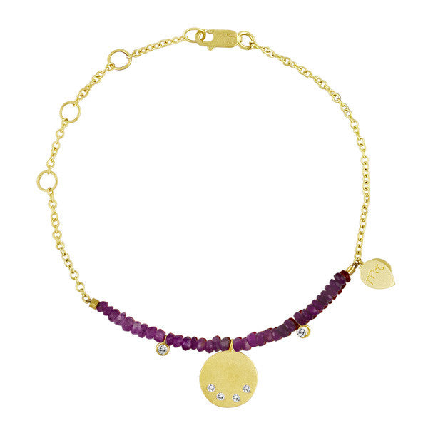 Pink Sapphire Beaded Chain Bracelet