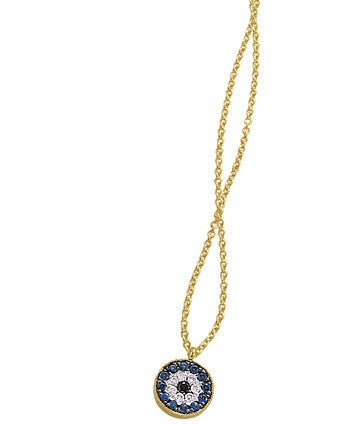 Evil Eye made of Mother of Pearl, Onyx, and Turquoise with Hammered Yellow Gold Diamond Disc Necklace